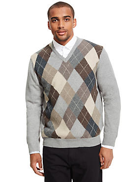 Pure Lambswool Argyle V-Neck Jumper