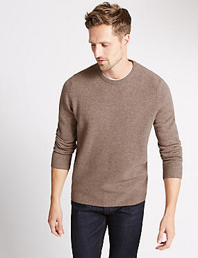 Pure Lambswool Textured Crew Neck Jumper