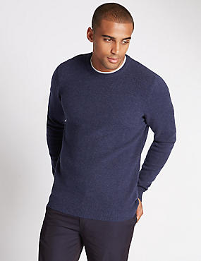 Pure Lambswool Mini Diamond Textured Jumper
