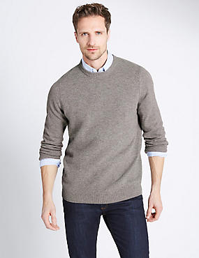 Pure Lambswool Striped Crew Neck Jumper