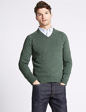 Pure Lambswool V-Neck  Jumper, AVOCADO, catlanding