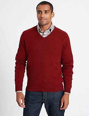 Pure Lambswool V-Neck  Jumper, , catlanding