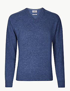 Pure Extra Fine Lambswool V-Neck Jumper, MEDIUM BLUE, catlanding