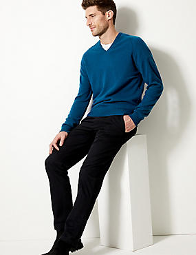 Pure Lambswool V-Neck  Jumper, DARK MARINE, catlanding
