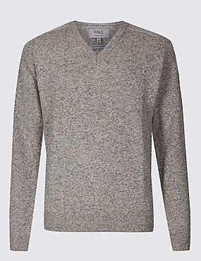 Pure Extra Fine Lambswool V-Neck Jumper, PUTTY, catlanding
