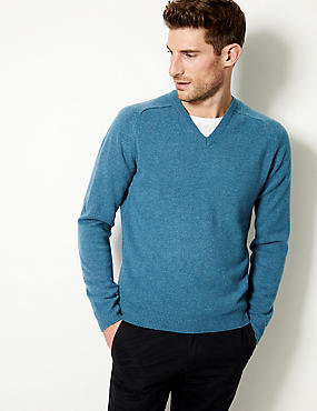 Pure Extra Fine Lambswool V-Neck Jumper, TEAL MIX, catlanding