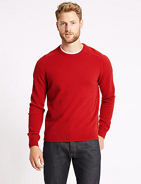 Pure Extra Fine Lambswool Crew Neck Jumper , RUBY RED, catlanding