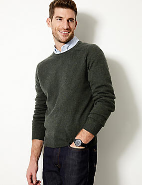 Pure Extra Fine Lambswool Crew Neck Jumper , DARK GREEN MIX, catlanding