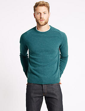Pure Extra Fine Lambswool Crew Neck Jumper , SOFT TEAL, catlanding