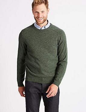 Pure Extra Fine Lambswool Crew Neck Jumper , MEDIUM KHAKI, catlanding