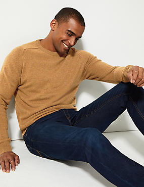 Pure Extra Fine Lambswool Crew Neck Jumper , DARK GOLD, catlanding