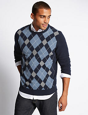 Pure Lambswool Argyle Crew Neck Jumper
