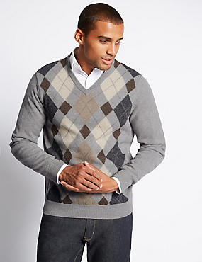 Pure Lambswool V-Neck Argyle Jumper
