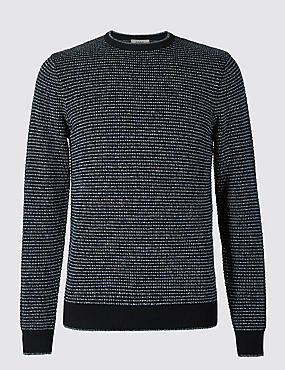 Pure Cotton Textured Jumper, NAVY MIX, catlanding