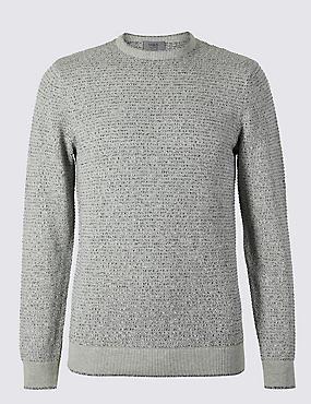 Pure Cotton Textured Jumper, GREY MIX, catlanding