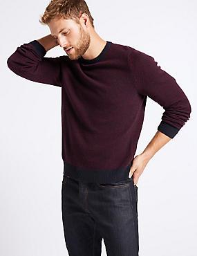 Wool Rich Textured Jumper, BURGUNDY MIX, catlanding