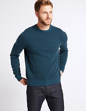 Wool Rich Textured Jumper, TEAL MIX, catlanding