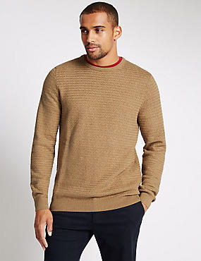 Pure Cotton Basket Weave Jumper