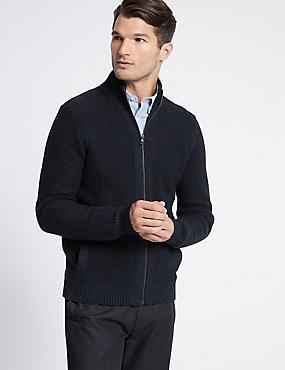 Pure Cotton Textured Zip Through Cardigan, NAVY, catlanding