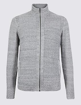 Pure Cotton Textured Zip Through Cardigan, NATURAL MIX, catlanding