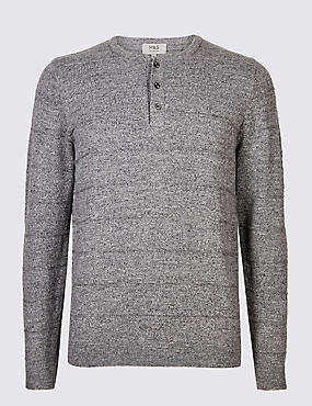 Pure Cotton Textured Jumper, GREY, catlanding