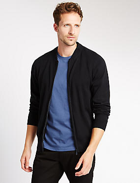 Pure Cotton Baseball Zip Through Cardigan