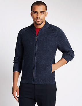 Cotton Rich Zip Through Textured Cardigan
