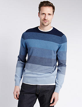 Pure Cotton Gradient Striped Jumper