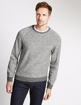Cotton Rich Sweat Slub Crew Neck Jumper