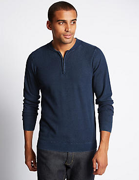 Pure Cotton Half Zip Jumper