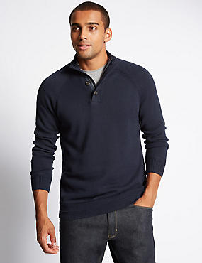 Pure Cotton Zipped Through Neck Jumper