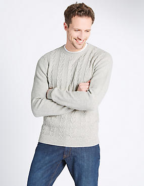 Pure Cotton Cable Knit Crew Neck Jumper