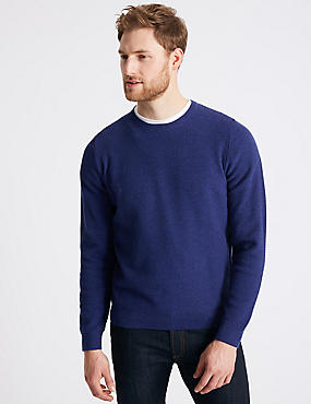 Cotton Rich Textured Jumper, COBALT, catlanding