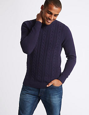 Pure Cotton Cable Jumper, PURPLE MIX, catlanding