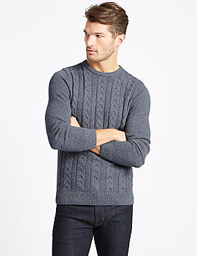 Pure Cotton Cable Jumper, BLUE DENIM, catlanding