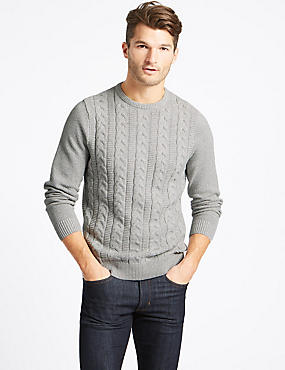Pure Cotton Cable Jumper, GREY MIX, catlanding