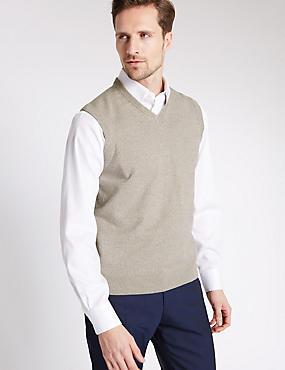 Pure Cotton V-Neck Slipover Jumper