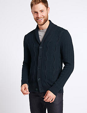 Pure Cotton Cable Knit Cardigan, NAVY MIX, catlanding