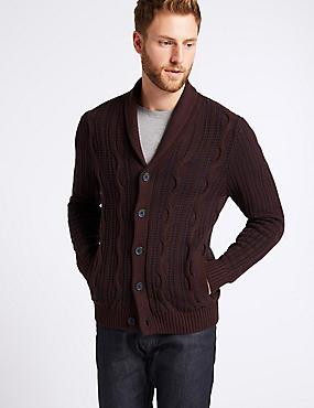 Pure Cotton Cable Knit Cardigan, BURGUNDY MIX, catlanding