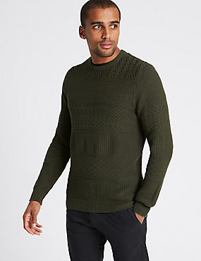 Pure Cotton Gansey Textured Jumper