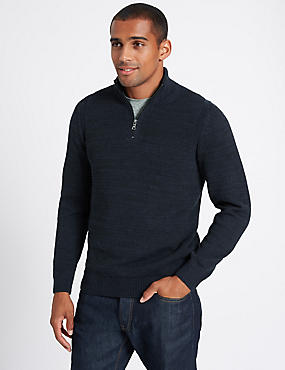 Cotton Rich Textured Half Zipped Jumper, NAVY MIX, catlanding