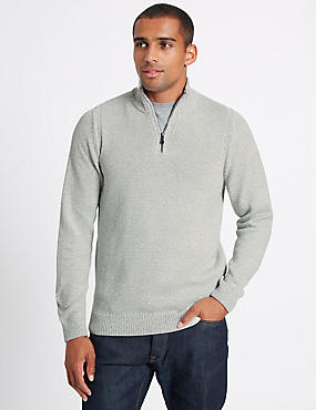 Cotton Rich Textured Half Zipped Jumper