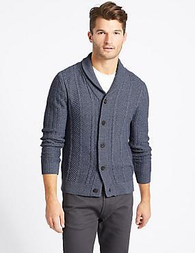 Cotton Rich Textured Cardigan, BLUE DENIM, catlanding