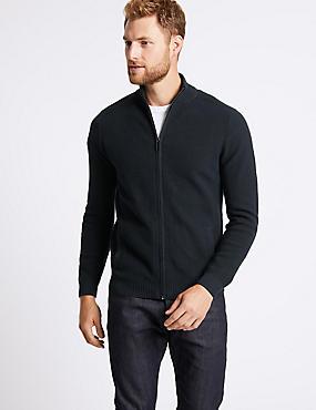 Cotton Rich Textured Zip Through Cardigan, NAVY, catlanding