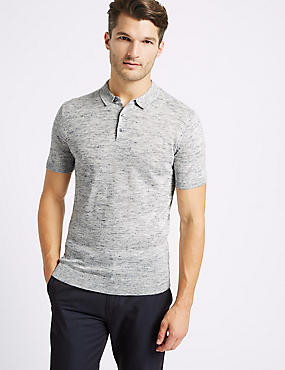 Textured Knitted Polo with Linen, LIGHT DENIM, catlanding