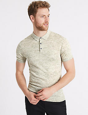 Textured Knitted Polo with Linen, KHAKI MIX, catlanding