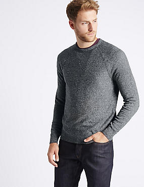 Pure Cotton Textured Crew Neck Jumpers