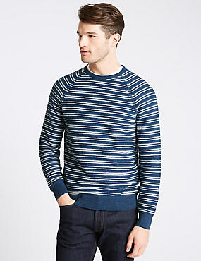 Pure Cotton Striped Jumpers, BLUE MIX, catlanding