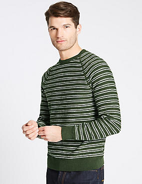 Pure Cotton Striped Jumpers, KHAKI MIX, catlanding