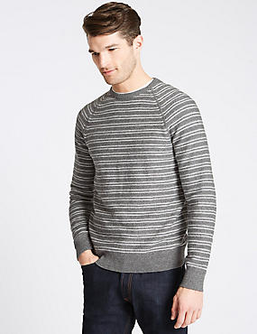 Pure Cotton Striped Jumpers, GREY MIX, catlanding